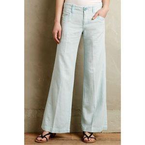 Anthro Pilcro Linen-Cotton Wide Leg Pants